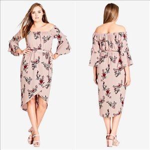 City Chic Blush Skye Floral Bellsleeve Midi Dress